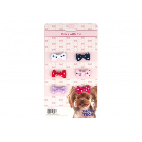 Polka Dot Bows with clip 6 pcs