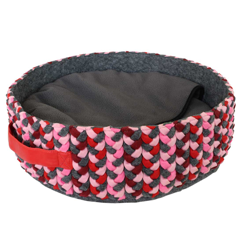 Basket round Leaf Pink-Grey